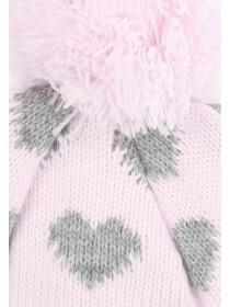Younger Girls Pale Pink Heart Hat