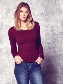 Womens Burgundy Long Sleeve T-Shirt