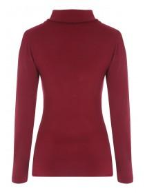Womens Cherry Red Roll Neck Top