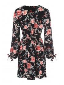 Womens Black Split Sleeve Wrap Dress