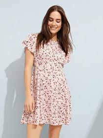 Womens Pale Pink Tulip Sleeve Tea Dress