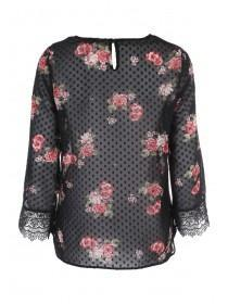 Womens Black Floral Print Mesh Blouse