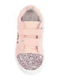 Younger Girls Pink Sparkle Velcro Trainers