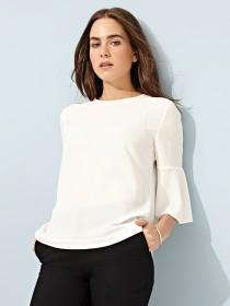 Women's Cream Fluted Sleeve Top