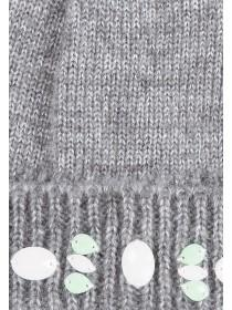 Older Girls Grey Jewelled Beanie Hat