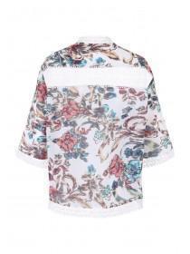 Womens Cream Georgette Lace Trim Kimono