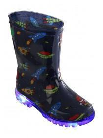 Younger Boys Light Up Space Wellies