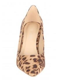 Womens Brown Leopard Print Comfort Heels