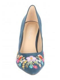 Womens Teal Embroidered Comfort Heels