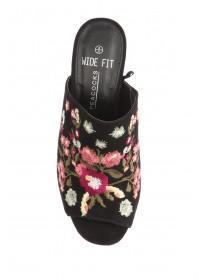 Womens Black Wide Fit Embroidery Mule
