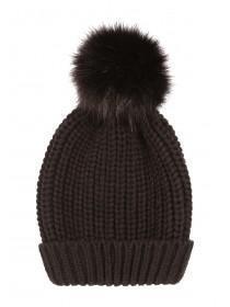 Womens Black Fur Pom Beanie