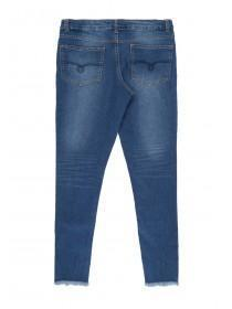 Older Girls Blue Ladder Hem Skinny Jeans