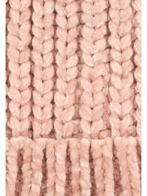 Older Girls Pink Chenille Pom Hat