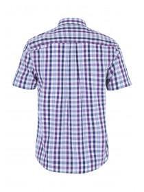 Mens Purple Check Short Sleeve Shirt