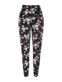 Womens Black Floral Print Jersey Trousers