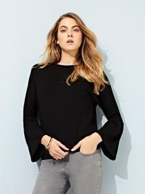Womens Black Fluted Sleeve Top