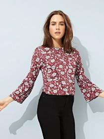 Womens Floral Purple Top