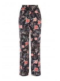 Womens Black Floral Wide Leg Crepe Trousers