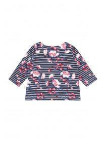 Baby Girls Dark Blue Floral Long Sleeve T-Shirt