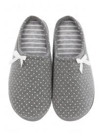 Womens Grey Spot Comfort Slippers