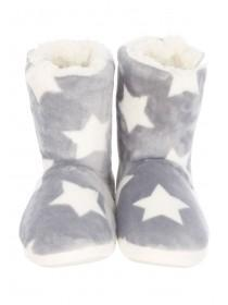 Womens Grey Star Slipper Boots