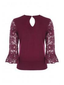 Womens Berry Lace Sleeve Jumper