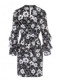 Womens Floral Frill Sleeve Dress