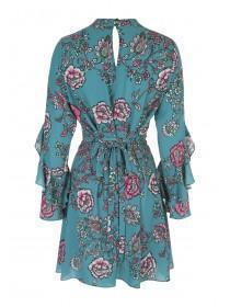 Womens Teal Floral Frill Sleeve Dress