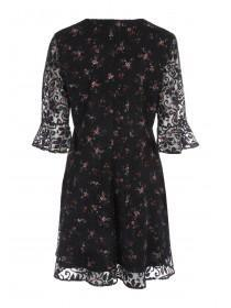 Womens Floral Flute Sleeve Dress