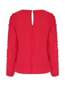 Womens Red Frill Sleeve Top