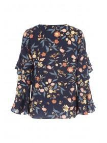 Womens Floral Print Ruffle Top