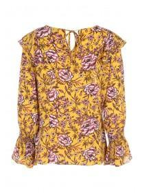 Womens Yellow Floral Top