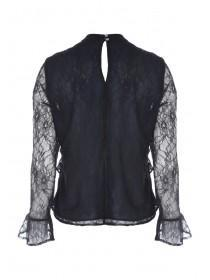 Womens Dark Blue Lace Ruffle Top