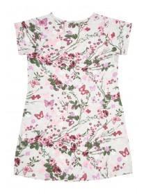 Younger Girls Grey Floral Smock Dress