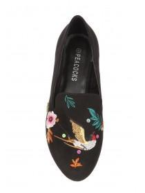 Womens Black Embroidered Slip On Shoe