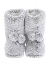 Womens Light Grey Faux Fur Slipper Boots