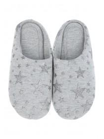 Womens Grey Star Mule Slippers