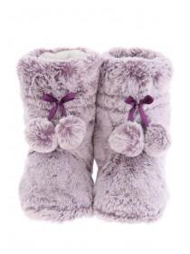 Womens Purple Fur Slipper Boots
