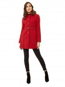 Jane Norman Red Fitted Bow Back Coat