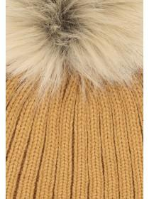 Womens Ribbed Pom Beanie Hat