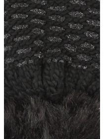Womens Black Lurex Thread Hat