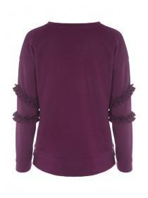 Womens Berry Double Frill Sweatshirt