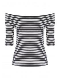 Womens Black Striped Bardot Top