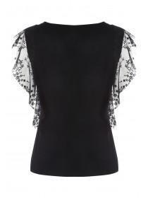 Womens Black Lace Frill T-Shirt