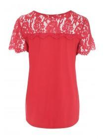 Womens Red Lace Panel T-Shirt