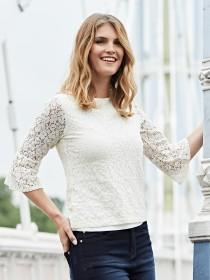 Womens Cream Lace Top