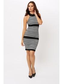 Jane Norman Mono Stripe  Midi Dress