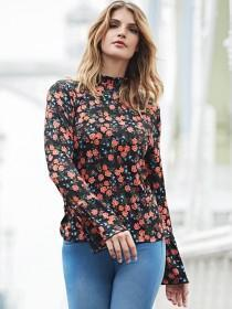 Womens Floral Print Frill Neck Top