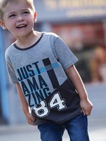 Younger Boys Grey Slogan T-Shirt