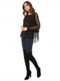 Jane Norman Black Sequin Chiffon Layer Jumper